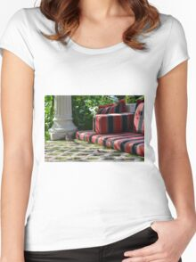 Park sitting arrangement with classical column. Women's Fitted Scoop T-Shirt