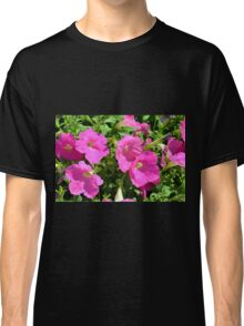 Pink flowers natural background. Classic T-Shirt