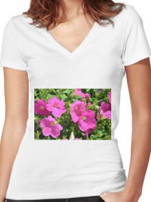 Pink flowers natural background. Women's Fitted V-Neck T-Shirt