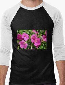 Pink flowers natural background. Men's Baseball ¾ T-Shirt