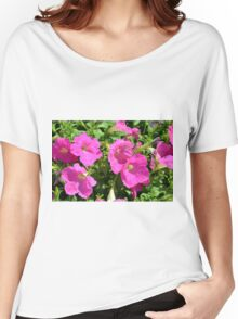 Pink flowers natural background. Women's Relaxed Fit T-Shirt