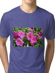 Pink flowers natural background. Tri-blend T-Shirt