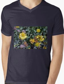 Yellow flowers in the garden. Mens V-Neck T-Shirt