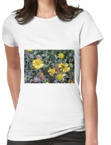Yellow flowers in the garden. Womens Fitted T-Shirt