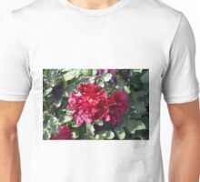 Beautiful red purple flowers and green leaves. Unisex T-Shirt