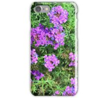 Purple flowers and green leaves bush. iPhone Case/Skin