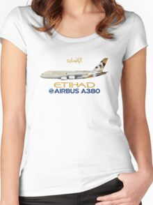 Illustration of Etihad Airways Airbus A380 - Blue Version Women's Fitted Scoop T-Shirt