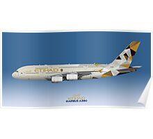 Illustration of Etihad Airways Airbus A380 - Blue Version Poster