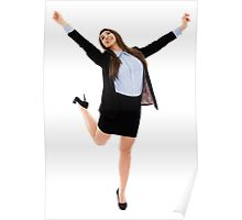 Successful businesswoman with arms raised Poster
