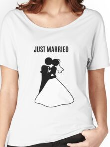 Just  Married Print Stick Figure Women's Relaxed Fit T-Shirt