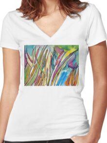 Cattail Landscape Women's Fitted V-Neck T-Shirt