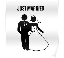 Just  Married Print Stick Figure Poster