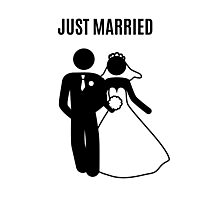 Just  Married Print Stick Figure Photographic Print