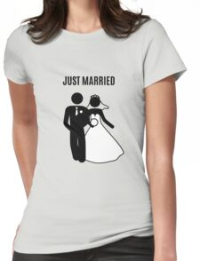 Just  Married Print Stick Figure Womens Fitted T-Shirt