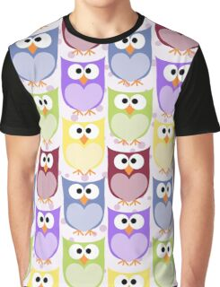 Colorful Owls - Green Blue Purple Yellow  Graphic T-Shirt