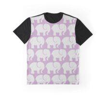 Troop Of Elephants (Elephant Pattern) - Gray Purple Graphic T-Shirt