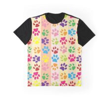 Dog Paws, Paw-prints, Stripes - Red Blue Green Graphic T-Shirt