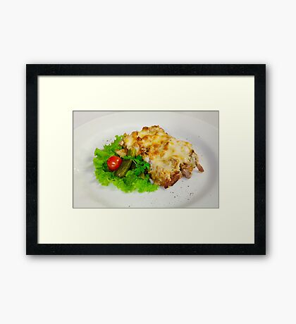 meat casserole with tomatoes and cucumbers Framed Print