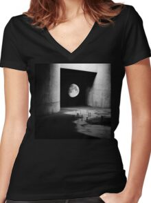To the Moon Women's Fitted V-Neck T-Shirt