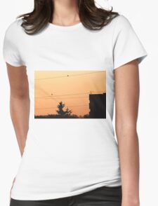 Birds on the wire Womens Fitted T-Shirt