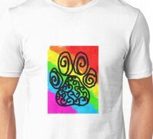 Rainbow Fur Paw Print Swirls Unisex T-Shirt