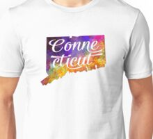 Connecticut US State in watercolor text cut out Unisex T-Shirt