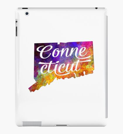 Connecticut US State in watercolor text cut out iPad Case/Skin