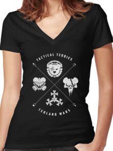 Tedland Wars Tee (White Print) Women's Fitted V-Neck T-Shirt