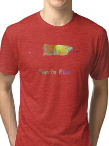 Puerto Rico  in watercolor Tri-blend T-Shirt