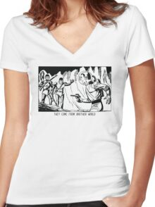 They come from another world! Sci-fi Pop Art Women's Fitted V-Neck T-Shirt