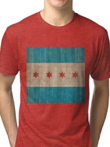 Chicago flag distressed Tri-blend T-Shirt