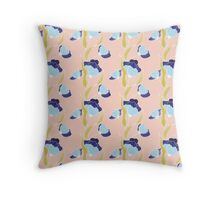 Blue Floral Throw Pillow