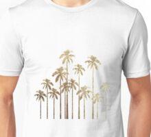 Glamorous Gold Tropical Palm Trees on White Unisex T-Shirt