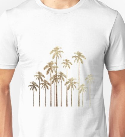 Glamorous Gold Tropical Palm Trees on White Unisex T-Shirt