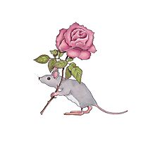 Little Mouse Carrying a Pink Rose, Color Pencil Art Photographic Print