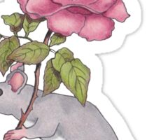 Little Mouse Carrying a Pink Rose, Color Pencil Art Sticker