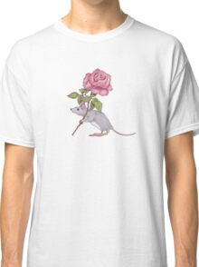 Little Mouse Carrying a Pink Rose, Color Pencil Art Classic T-Shirt