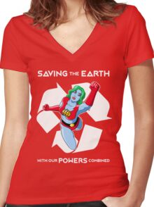 Powers combined Women's Fitted V-Neck T-Shirt