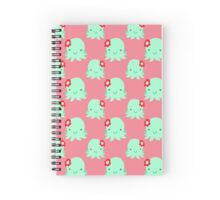 Aqua Flower Octopus Pink Pattern Spiral Notebook