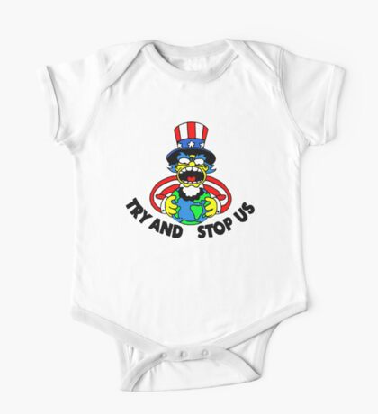 Try and Stop Us T-Shirt - Funny American Cartoon Uncle Sam One Piece - Short Sleeve