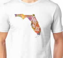 Florida US State in watercolor text cut out Unisex T-Shirt