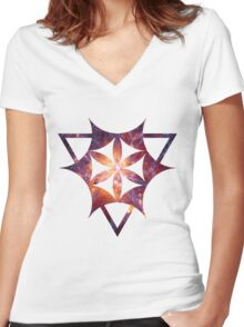 Sacred Geometry Space III - White Women's Fitted V-Neck T-Shirt