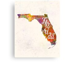 Florida US State in watercolor text cut out Canvas Print