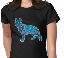 German Shepherd, Bohemian Snowflakes Womens Fitted T-Shirt