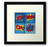 Set of Comics Bubbles in Vintage Style Framed Print
