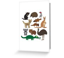 Australian animals on green background Greeting Card