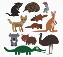 Australian animals on green background One Piece - Short Sleeve
