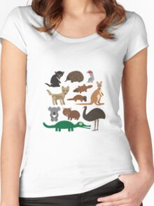 Australian animals on green background Women's Fitted Scoop T-Shirt