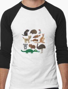 Australian animals on green background Men's Baseball ¾ T-Shirt