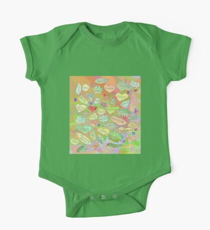 Leaves of Good Intention - Word Art Drawing One Piece - Short Sleeve